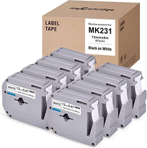 popular myCartridge Label Tape Compatible with Brother P-Touch MK231 M231 M-K231 M-231 M Tapes, 8 Pack online sale for P Touch Labels Maker Pt-70BM PT-M95 Pt-90 Pt-70 Pt-65 Pt-70Sr Pt-85, 0.47In x lowest 26.2ft Black On White sale