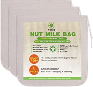 3 Pcs Nut Milk Bags, 12
