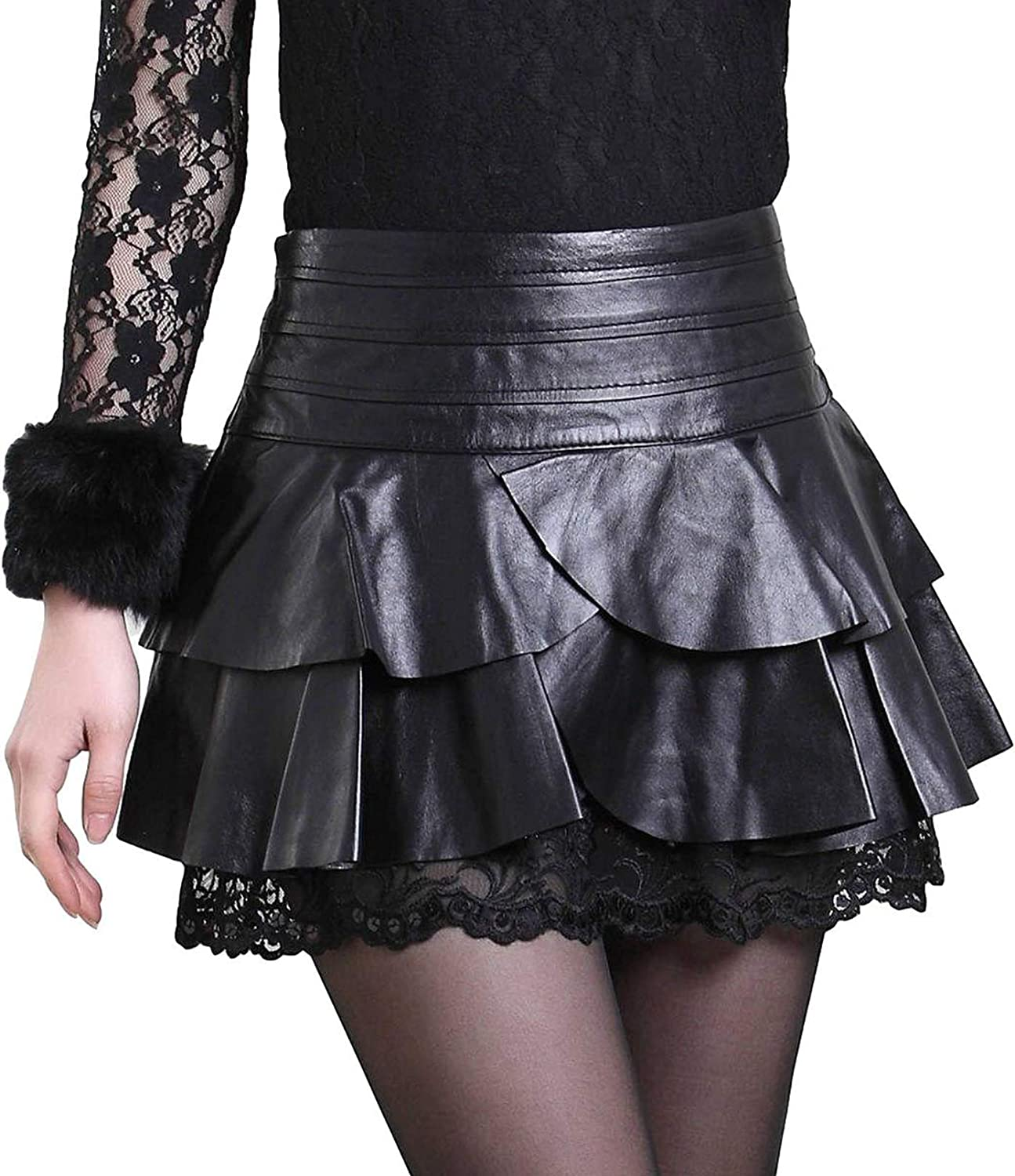 Idopy Women's Casual Double Layer Ruffle Flare Pleated Mini Faux Leather Skirts