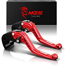 MZS Short Levers Brake Clutch Adjustment CNC Red Compatible with Yamaha YZF R1 2002-2003| YZF R6 1999-2004| FZ1 Fazer FZS1...