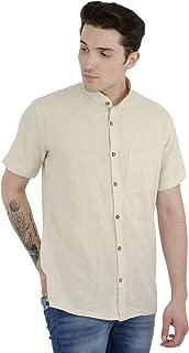 SKAVIJ Men's Khadi Cotton Casual Shirt Short Sleeves