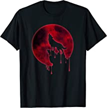 Full Moon T-Shirt Howling Wolf Galaxy Blood Moon Eclipse Tee