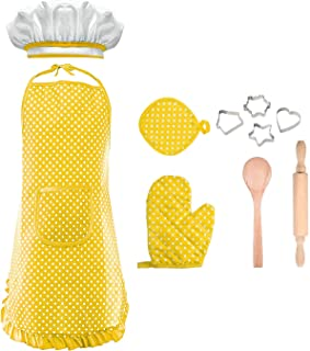 Chef Costume for Kids Toddler Girls, Kids Chef Set Children Cooking Play for 3-8 Year Old Girls Kids Chef Hat and Apron Popular Toys Stocking Stuffers for Girls Age 3-8 Yellow DMCF3