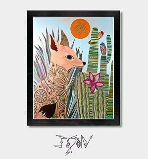 Desert Fox - by Artist Jason Smith - Southwestern, Mexican, Arizona, Texas, Mexico, Tucson, New Mexico, Southwest, Coyote, Mexican Folk Art, Cactus, Artwork, Art, Wall Art, Sonoran Desert, Agave, Aloe
