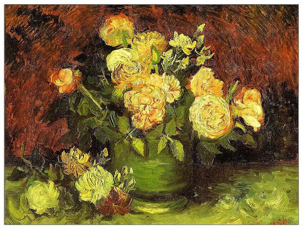 ArtPlaza TW91184 Van Gogh Vincent - Roses Decorative Panel 35.5x27.5 Inch Multicolored