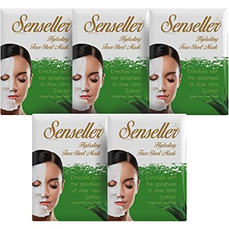 Senseller Hydrating Face Sheet Mask Enriched with Gmoist Sea Gel, Vitamin E, Sea Weed Extract (Pack of 5)
