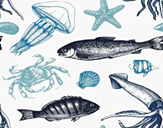 Ghjxda 5D DIY Diamond Painting Kits Sea Life Mussels Fish Crab Starfish Squid Jellyfish Shellfish Sketch Vintage Diamond P...