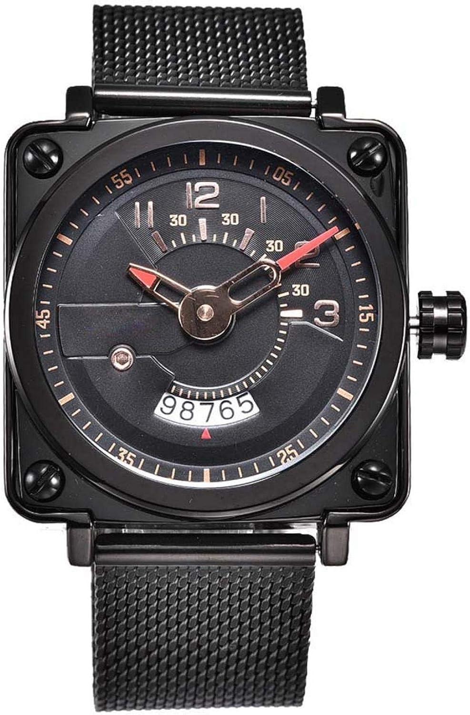Caja cuadrada unisex Correa de acero inoxidable 3ATM Calendario impermeable Reloj de cuarzo Reloj de pulsera de regalo(Oro rosa)