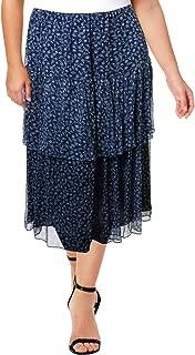 LAUREN RALPH LAUREN Womens Plus Aubrianna Floral Tiered Midi Skirt