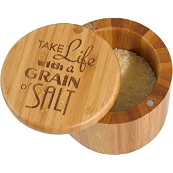 "Totally Bamboo Salt Box Bamboo Storage Box, with Magnetic Swivel Lid,""Take Life with a Grain of Salt"" Permanently Engraved on Lid"