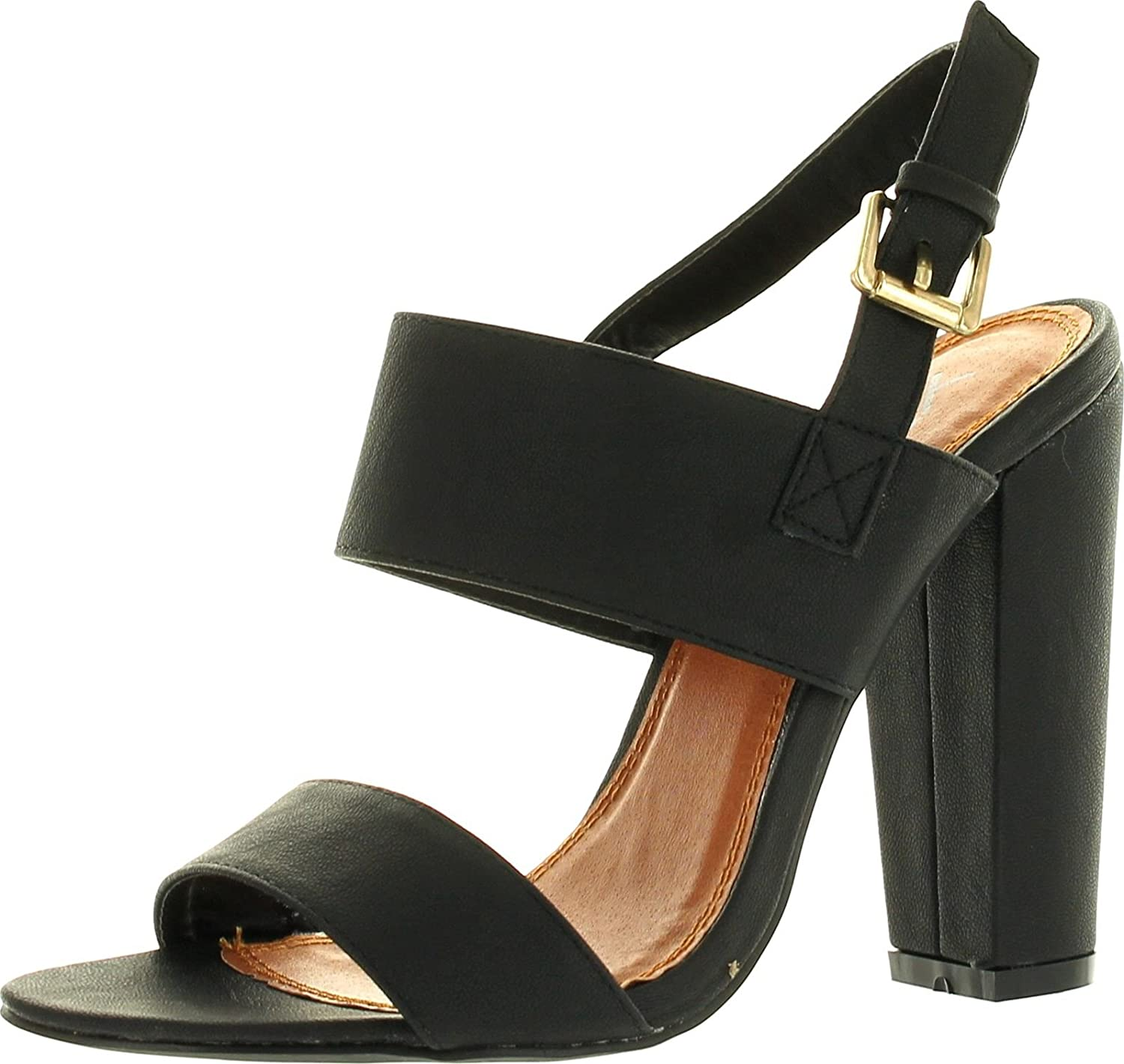 X2B Static Footwear Fay-1 Women's Round Toe Buckle Ankle Strap Chunky Heel Dress Sandals,Black,5.5