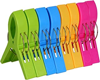 ECROCY 8 Pack Beach Towel Clips in Bright Colors – Jumbo Size Beach Chair Towel..