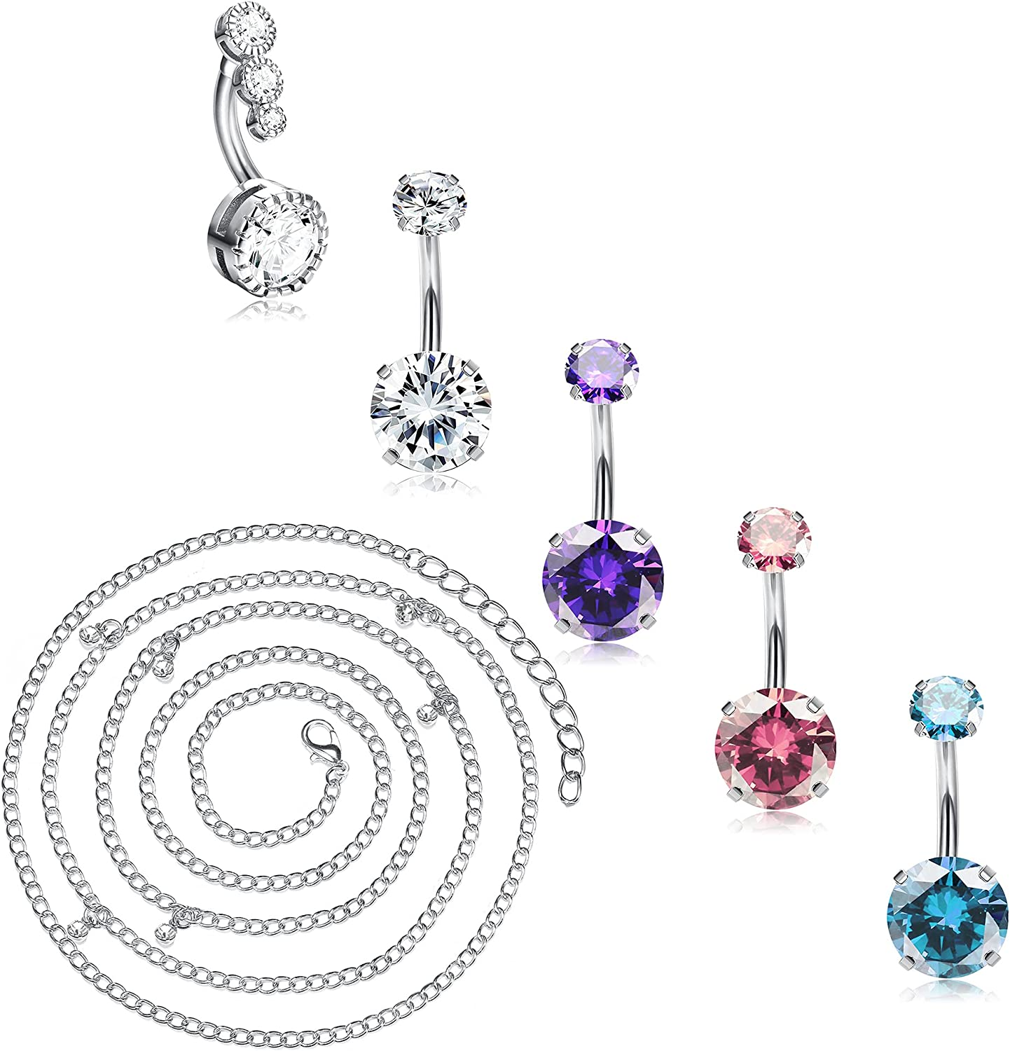 BodyBonita 14G Belly Button Rings with Waist Chain Surgical Stainless Steel Diamond CZ Dangle Belly Rings Cute Navel Rings Dangle Belly Button Piercing Jewelry for Women