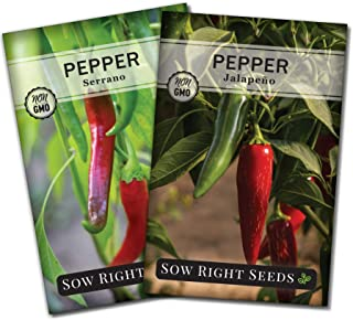 Sow Right Seeds - Hot Pepper Seed Collection for Planting - Individual Packets Jalapeno, and Serrano, Non-GMO Heirloom Seeds to Plant an Outdoor Home Vegetable Garden