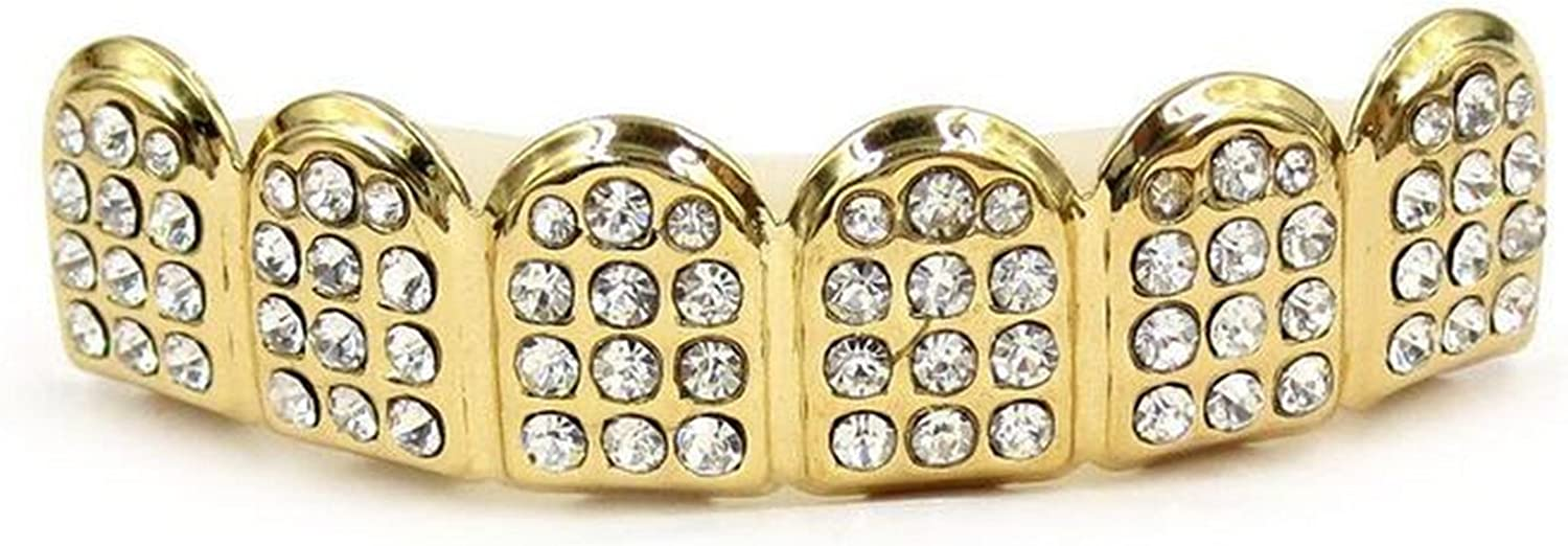 Wiipu 14K Gold Teeth GRILLZ Top Bottom ICED OUT CZ Tooth Caps Mouth Grill Teeth Hip Hop Mouth(A1090)
