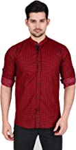 Ramdev Crafts Regular Slim Fit Casual Cotton Checkered Checks Print Shirt for Men (Full Sleeves) Maroon ST0130