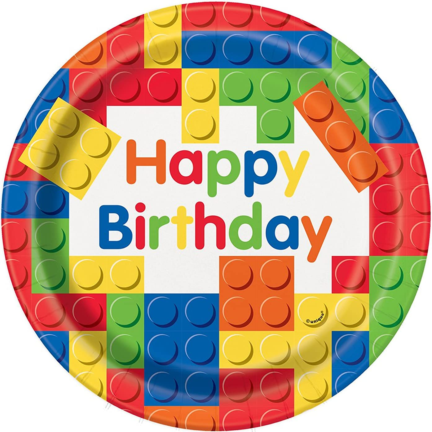 Building Blocks Birthday Dinner Plates, 8ct