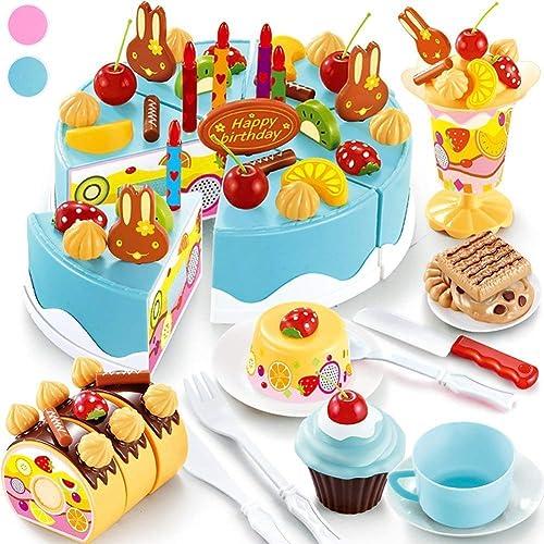 YZWJ Juguete de Bricolaje Corte cumpleaños Pastel de Alimentos Set 75PCS Juguete de simulación de educación de la Primera Infancia