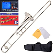 Mendini by Cecilio Silver Nickel Bb Tenor Slide Trombone, 1 Year Warranty, Tuner, Pocketbook and More, MTB-N