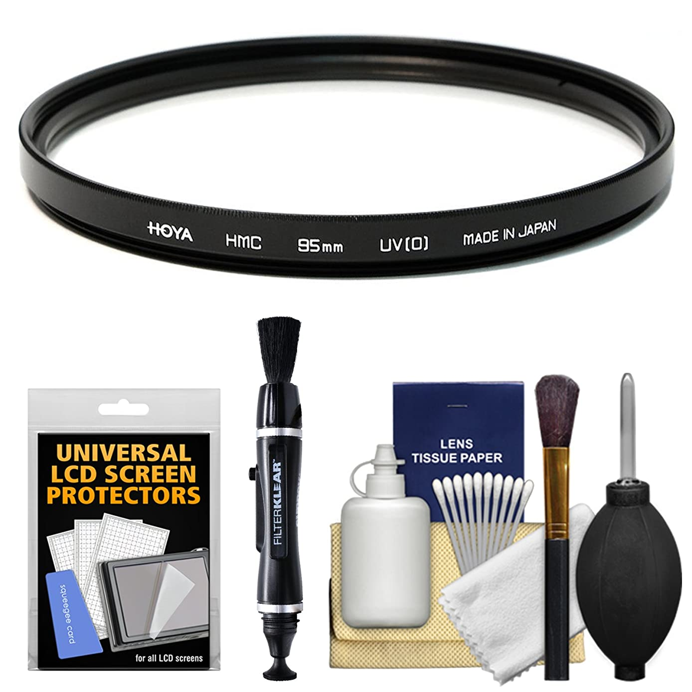 Hoya 95mm HMC UV (0) Glass Filter with LCD Protector + Cleaning Kit