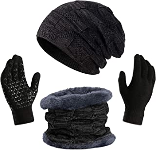 قبعة بيني ووشاح وقفازات للبالغين من انجورن، إكسسوارات الشتاء والثلج الدافئة للنساء والرجال، وقفازات لمس بتصميم كف وإصبع