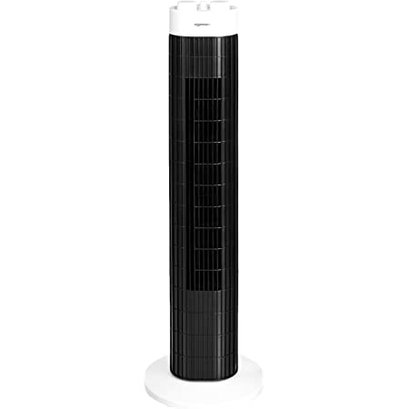Amazon Basics Ventilateur tour portable, oscillant, 3 vitesses avec minuteur, 45 W