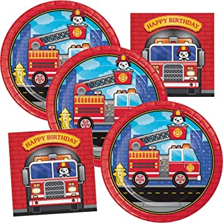 Firefighter Birthday Party Supplies Fire Truck Plates and Napkins Serve up to 16 Guests