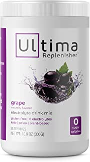 Ultima Hydrating Electrolyte Powder, Grape, 90 Servings, no Sugar, 0 Carbs or Calories, Keto, Gluten-Free, Paleo, Non-GMO, Vegan, with Magnesium, Potassium, Calcium, 10.8 Ounce (Pack of 1)