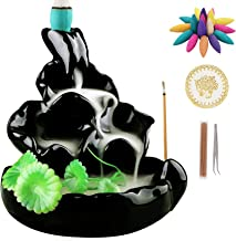 Ivenf Ceramic Censer, Backflow Variety Mixed Aromatherapy Incense Cones and Holder/Burner Set, Appox. 40 Cones(8 Kinds Ass...