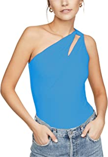 Ersuely Women's Sexy One-Shoulder Slim Fit Summer Tank with Front-Hole Tiramisu Top Cutout Detail at Strap