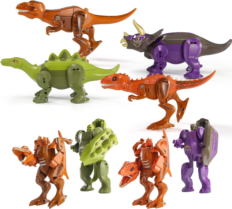 Topics on TV 4PCS Dinosaur Robot Transforming Toys 2 1 in Tra Max 40% OFF Dino Jurassic