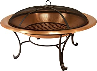 "Catalina Creations 35"" Solid Copper Fire Pit with Log Grate, Spark Screen, with Lift Tool"