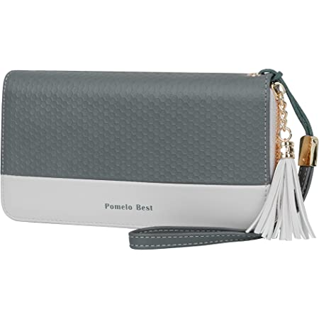 Pomelo Best Damen Geldbeutel Groß lang Portmonee mit Handyfach, Handschlaufe RFID-Blocker Geldbörse für Frauen (Grau-A)