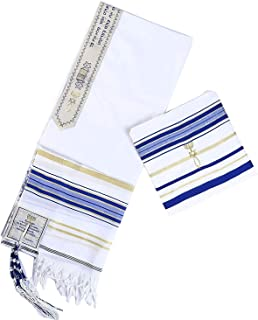 """Messianic Tallit Prayer Shawl 72"""" x 22"""" with Bag New,Blue with Gold S"""