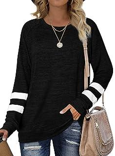 Sweatshirts for Women Crewneck Color Block Sweaters Long...