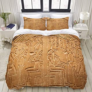 LUNASVT Egyptian Hieroglyphs on The Wall Stone Surface Scripts Ancient Arts Theme Image Decorative Custom Design 3 PC Bedding Set 1 Duvet Cover with 2 Pillow Shams Twin/Twin XL