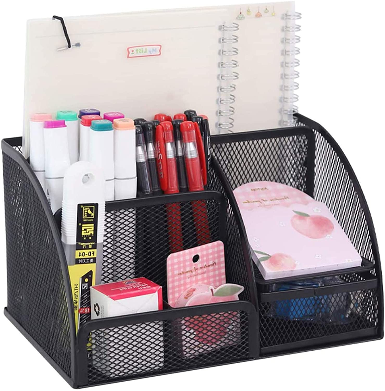 YCOCO Desk Organizer for Office,All in One Desktop Organizer with Note Paper Organizer and Pencil Holder,Black Metal Mesh Office Organizer for Office Supply and Desk Accessories Organizers : Office Products