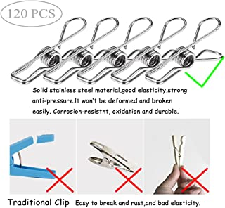 120 Pack Stainless Steel Cloth Pin, 2.2 Inch Clothesline Hook for Socks Towel Bag Scarfs Hang Drying Rack Tool, Laundry Kitchen Cord Wire Line Clothespins Pegs, File Paper Bookmark S Binder Metal Clip