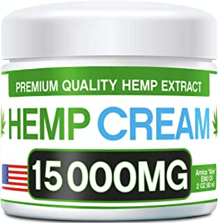Hemp Pain Relief Cream - 15 000 MG - Natural Hemp Extract Relieves Inflammation, Knee, Muscle, Joint & Back Pain - Contains Arnica, MSM & EMU Oil - Non-GMO - Made in USA