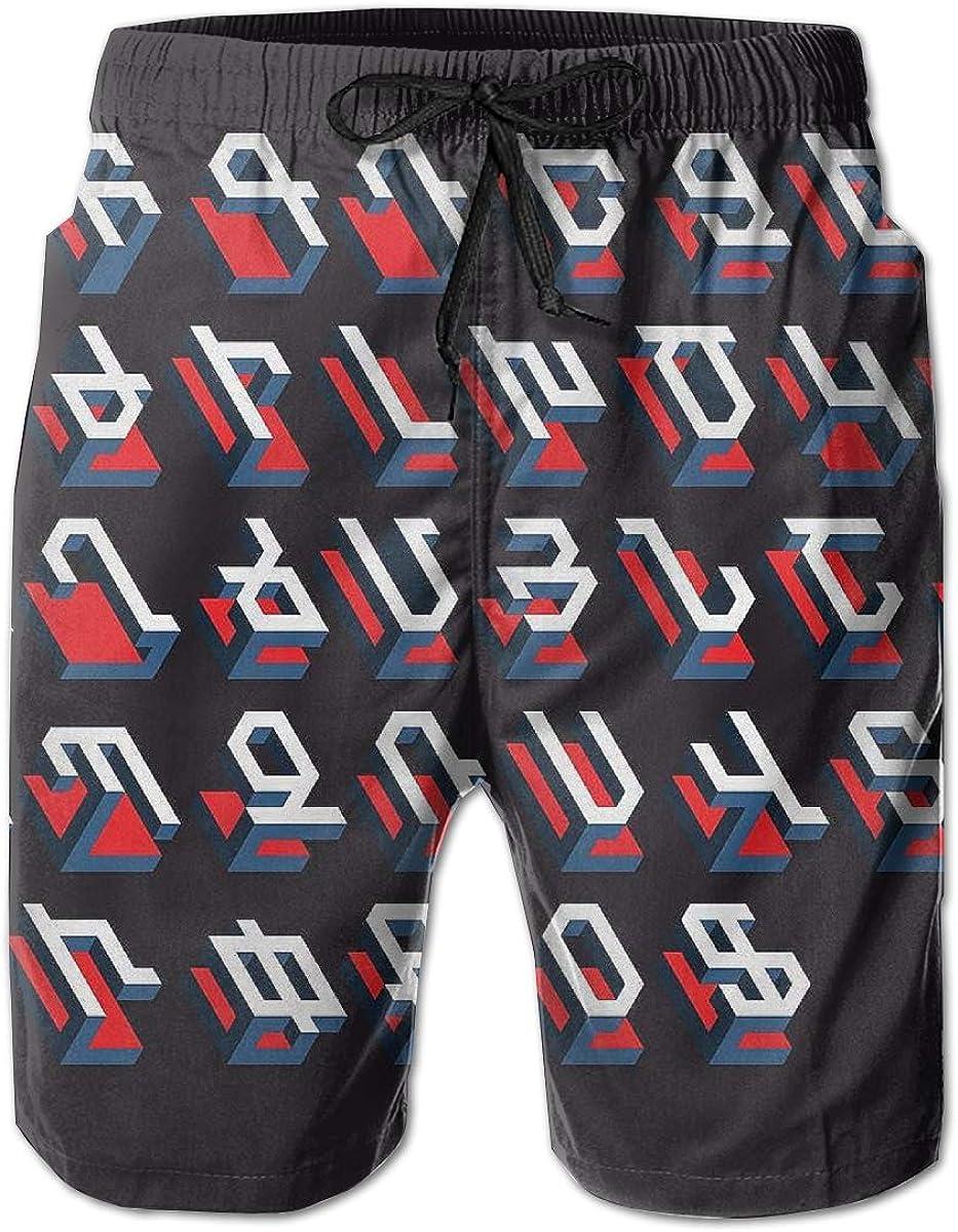 HZamora_H Men Armenian Alphabet 36 Letters Summer Breathable Quick-Drying Swim Trunks Beach Shorts Board Shorts L