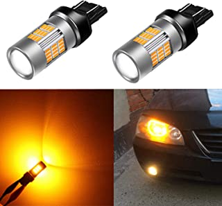 Alla Lighting 7443 LED Bulbs Super Bright T20 Wedge LED 7440 7443 Bulb 54-SMD High Power 4014 Chipsets LED W21W 7443 7440 Amber Yellow Turn Signal Blinker Light Lamp Bulbs Replacement (Set of 2)