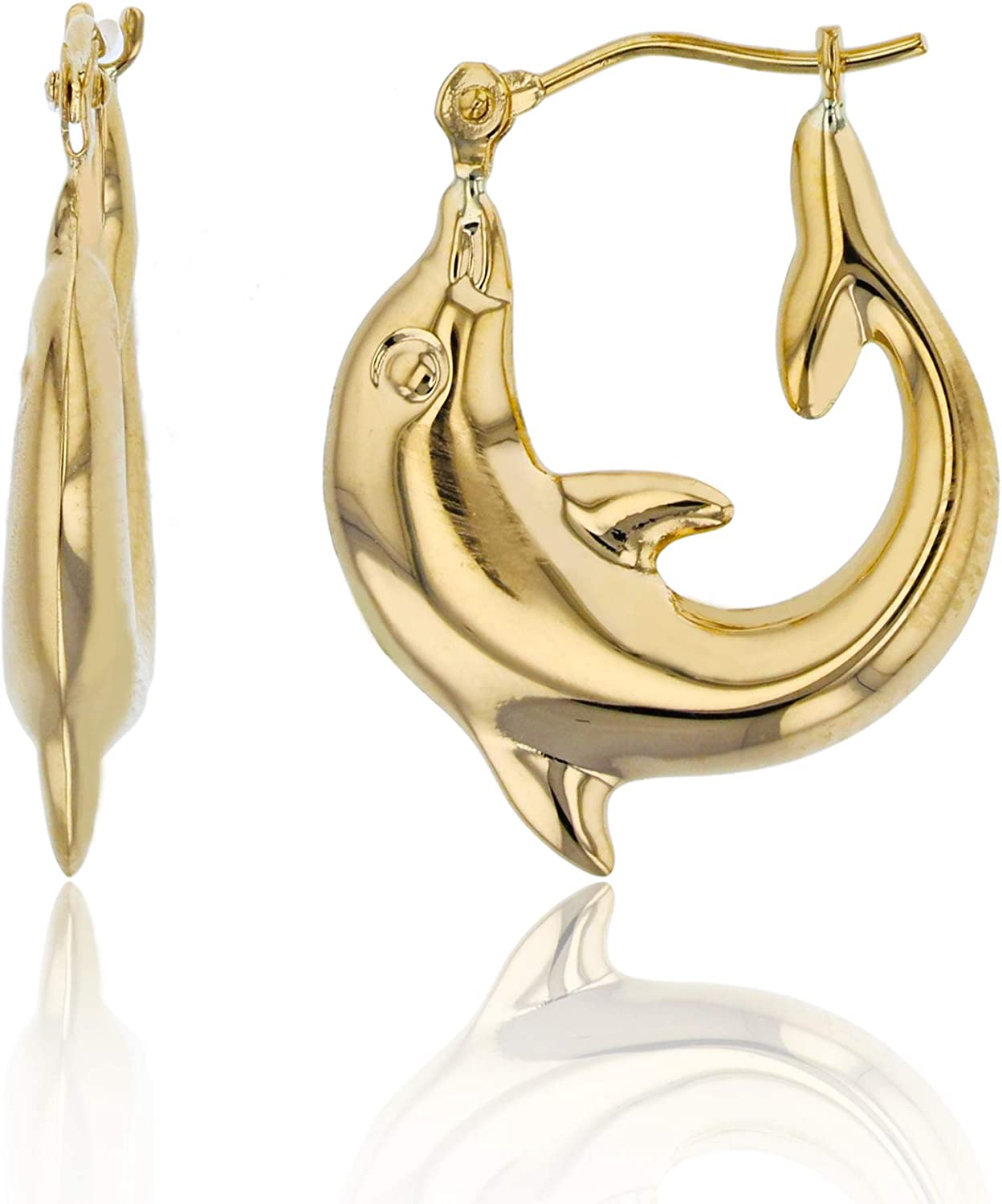 10K Yellow Gold 20x3mm High Dedication Factory outlet Polished Shaped Earring Hoop Dolphin