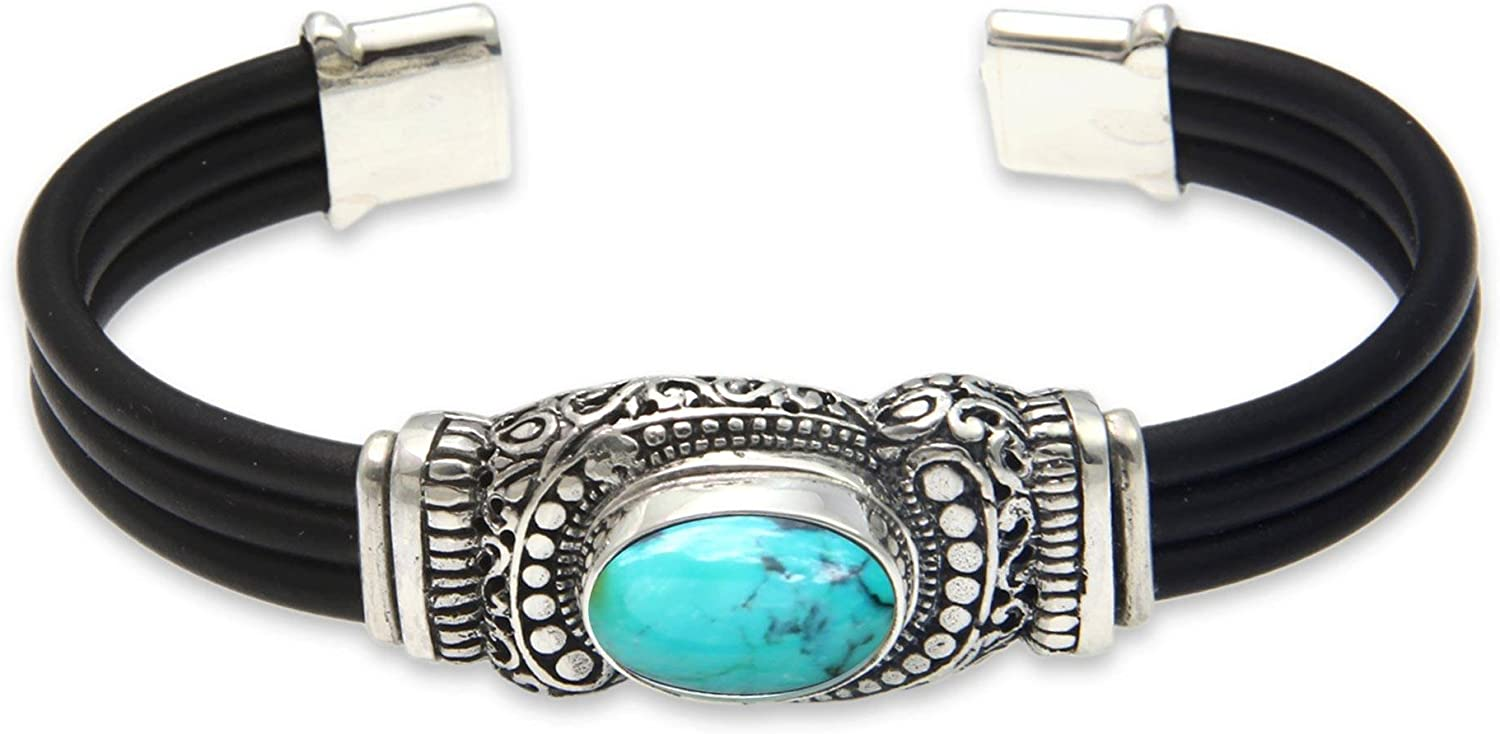 NOVICA Reconstituted Turquoise .925 Sterling Silver Rubber Cuff
