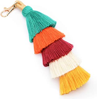 Tassel Pom Pom Key Chain Colorful Boho Charm Key Ring, Fashion Accessories for Women (F-colorful)
