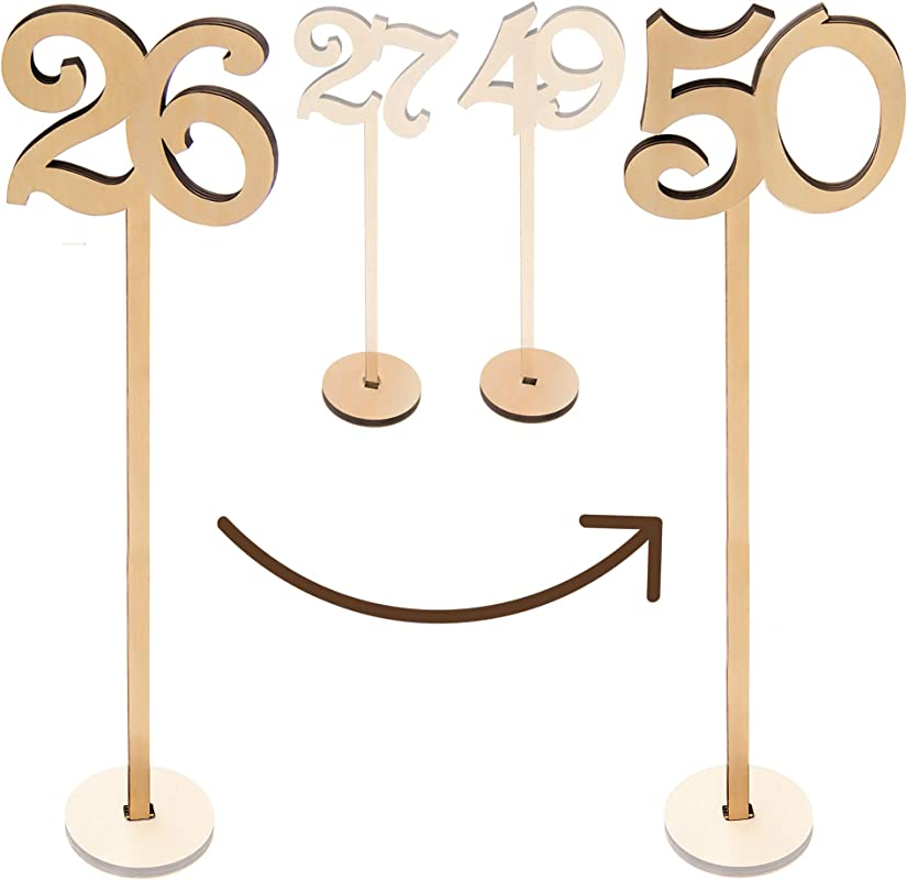 Merry Expressions Wooden Wedding Table Numbers 26 50 Pack 13 5 Tall Large Extra Thick Heavy Duty Commercial Grade Quality Wood Best For Receptions Banquets Caf S Restaurants Hotels Parties