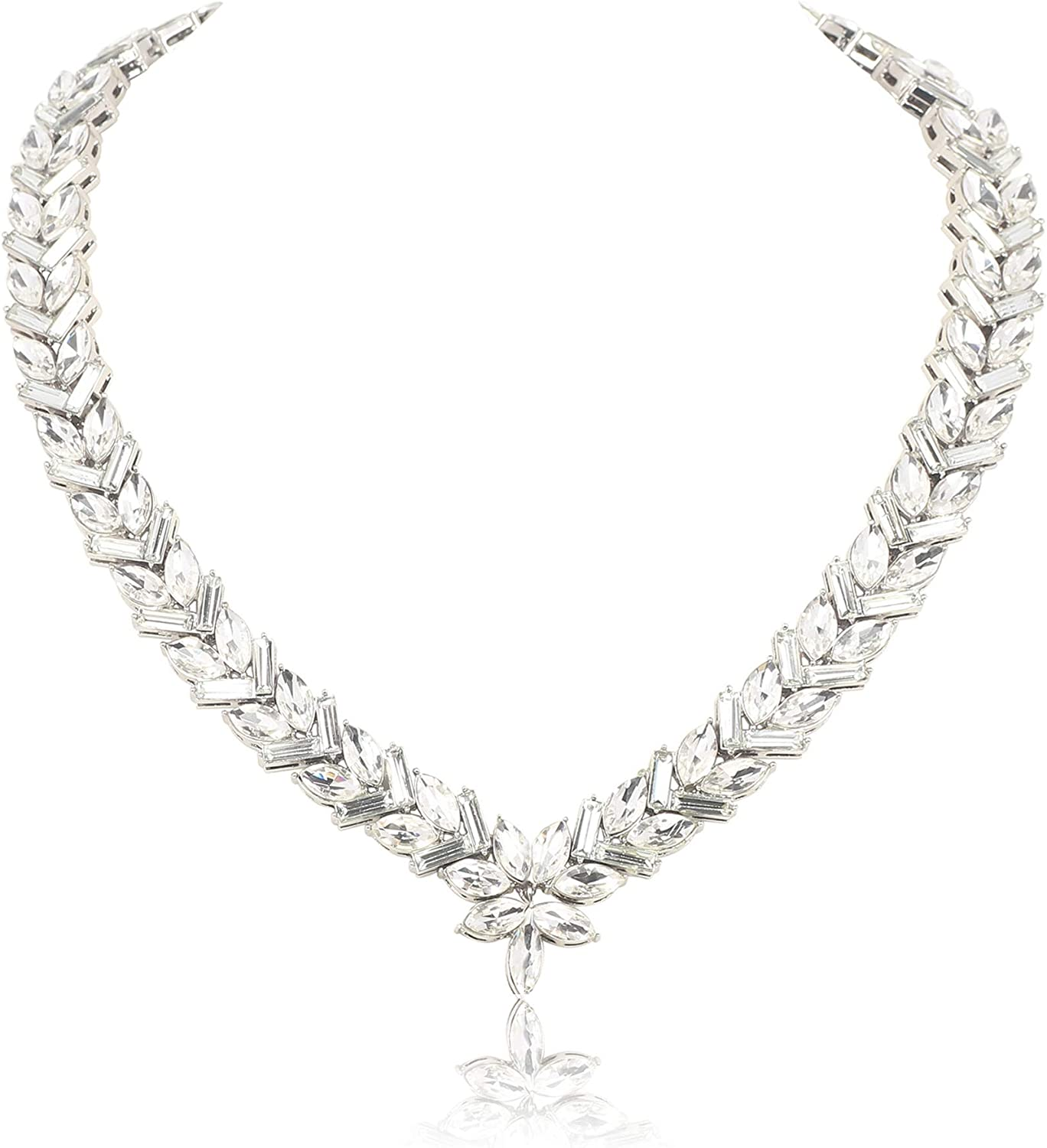 Firstmeet Crystal Collar Statement Necklace for Women Party Prom Jewelry