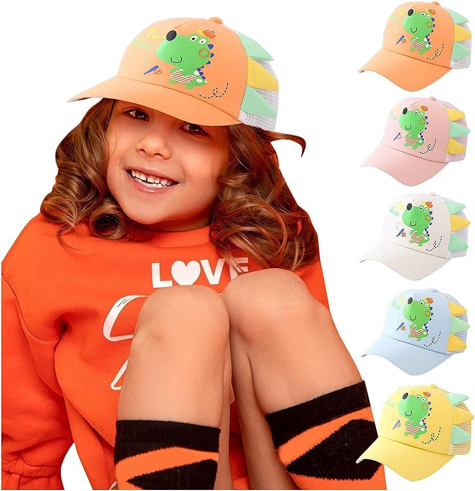 Baby Sonnenhut Kleinkind-Baseballmütze Sommer Strohhut Sonnenschutz Strand Hüte mit breiter Krempe Cartoon Dinosaurier Kinder Trucker Hut
