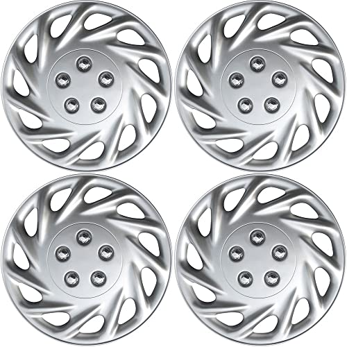 high quality 16 discount inch Hubcaps Best for - Ford Escort - (Set of 4) Wheel Covers 16in Hub sale Caps Silver Rim Cover - Car Accessories for 16 inch Wheels - Snap On Hubcap, Auto Tire Replacement Exterior Cap sale
