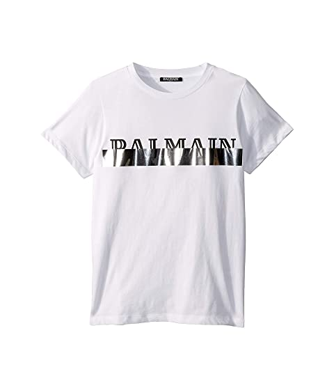 Balmain Kids Short Sleeve Logo Tee w/ Metallic Strip (Big Kids)