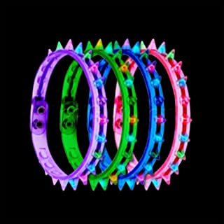 Fun Central O044 LED Light Up Spike Choker Necklace - Assorted - 12pcs